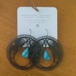 Yewo Metal Dangles With Turquoise Teardrops